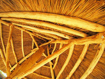 Yellow roof is made of cane. Bottom view royalty free stock photo