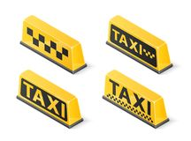 Yellow roof taxi sign set isolated on white background. Isometric vector illustration.  Stock Photos
