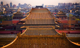 Yellow Roofs Forbidden City Beijing China Stock Image