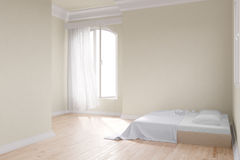 Yellow room with bed Royalty Free Stock Image