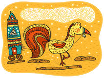 Yellow rooster harnessed to a carriage Royalty Free Stock Photography