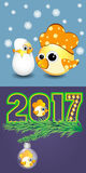 Yellow rooster symbol calendar 2017 of figure. Vector rooster happy symbol of 2017new year Royalty Free Stock Photos