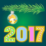 Yellow rooster symbol calendar 2017 of figure. Vector rooster happy symbol of 2017new year Royalty Free Stock Image