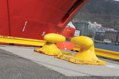 Yellow rope cleat. Rope cleat for ships Stock Images