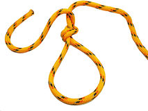 Yellow rope with some nodes. Royalty Free Stock Photo