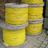 Yellow rope spools Royalty Free Stock Photo