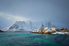 Free Yellow Rorbu Houses, Lofoten Islands, Norway Royalty Free Stock Images - 127870919