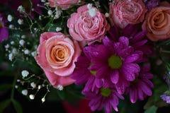 Yellow rose фтв chrysanthemum in beautiful bouquet. spring fl royalty free stock photos