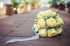 Yellow Rose γάμος πρώτου πλάνου εστίασης 3 ανθοδεσμών Στοκ φωτογραφία με δικαίωμα ελεύθερης χρήσης