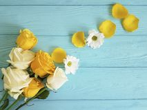 Yellow rose freshness bouquet on a blue wooden background, romantic celebration frame. Yellow rose on a blue wooden background, frame celebration freshness Royalty Free Stock Photos