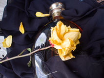 Yellow Rose and Bottle. Rose and bottle on black scarf Royalty Free Stock Images