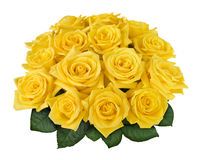 Yellow rose bouquet cutout. Yellow rose bouquet isolated on white with clipping path Stock Photo