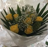 Yellow rose bouquet stock photos