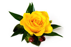 Yellow Rose Boutonniere With Autumn Accents Royalty Free Stock Photography