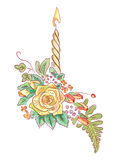 Yellow rose with a candle and ferns. Illustration Stock Photo