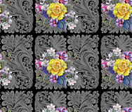 Yellow rose, flower cherry, bouquet, watercolor, pattern seamless Stock Image