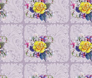 Yellow rose, flower cherry, bouquet, watercolor, pattern seamless Stock Photo