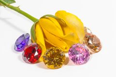 yellow rose flower with colorful diamonds Stock Images