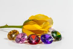 yellow rose flower with colorful diamonds Royalty Free Stock Photo