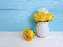 Yellow fresh rose vase vintage wooden background frame nature greeting decoration birthday. Yellow rose fresh vase wooden background elegant decoration greeting Royalty Free Stock Image