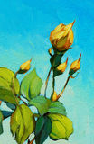 Yellow rose, painting by oil on canvas Royalty Free Stock Images
