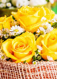 Yellow rose with water drops in basket Stock Photo