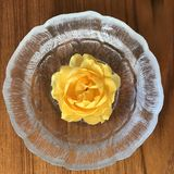 Yellow Rose. In bowl Stock Photography