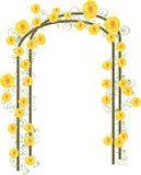 Yellow roses. Illustration of hand drawn yellow roses vining along a trellis Royalty Free Stock Images