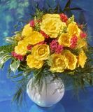Yellow roses. Bunch of yellow roses in vase Stock Photos