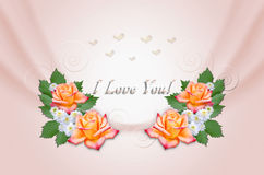 Yellow roses and asters on wavy pink background Stock Photo