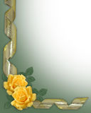 Yellow Roses Border gold ribbons Stock Image