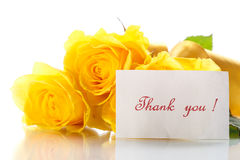 Yellow roses. Bouquet of yellow roses with gratitude on a white background Royalty Free Stock Image
