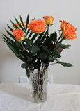 Yellow Roses. The bunch of yellow roses in crystal vase Royalty Free Stock Photography