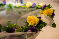Yellow roses and font in church Royalty Free Stock Photos