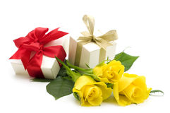 Yellow roses and gift boxes Royalty Free Stock Photos
