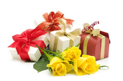 Yellow roses and gift boxes Royalty Free Stock Image