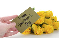 Yellow roses gift for Grandparents Day. Stock Photo