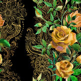 Yellow roses on golden ornament. Seamless pattern Royalty Free Stock Image