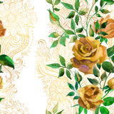 Yellow roses on golden ornament. Seamless pattern Stock Images