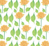 Yellow roses and leaves seamless toss wallpaper background. Roses with fresh green leaves seamless stripe on a white background Stock Photos