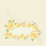 Yellow roses ornate frame background. Royalty Free Stock Photography