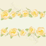 Yellow roses ornate frame background. Royalty Free Stock Photo