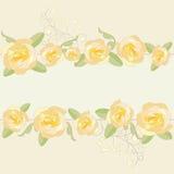 Yellow roses ornate frame background. Royalty Free Stock Photo