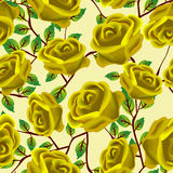 Yellow roses pattern. Seamless background design with stylized yellow roses Stock Photography