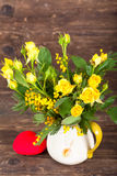 Yellow roses with read heart Royalty Free Stock Photography
