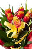Yellow roses with red decoration Royalty Free Stock Photography