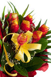 Yellow roses with red decoration Stock Photography