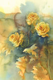 Yellow roses still-life watercolor Royalty Free Stock Photo