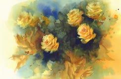 Yellow roses still-life watercolor Royalty Free Stock Photo