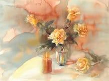 Yellow roses still-life watercolor vector illustration